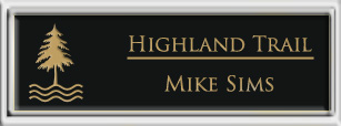 Framed Name Tag: Silver Plastic (squared corners) - Black and Gold Plastic Insert