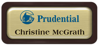 Metal Name Tag: Brushed Gold Metal Name Tag with a Dark Brown Plastic Border and Epoxy