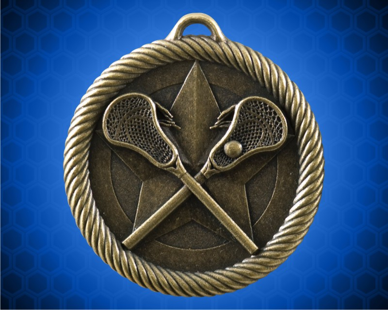 2 inch Gold Lacrosse Value Medal