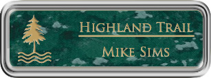 Framed Name Tag: Silver Plastic (rounded corners) - Verde and Gold Plastic Insert