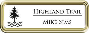 Framed Name Tag: Gold Plastic (rounded corners) - White and Black Plastic Insert