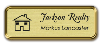 Framed Name Tag: Gold Metal (rounded corners) - Euro Gold and Black Plastic Insert with Epoxy
