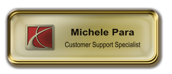 Gold Metal Framed Epoxy Nametag with Shiny Gold Metal Insert
