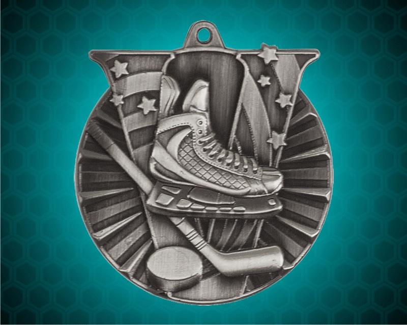 2 Inch Silver Hockey Victory Medal