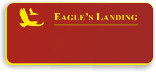 Blank Smooth Plastic Name Tag with Logo: Crimson and Yellow - LM922-207