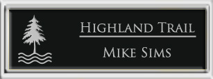 Framed Name Tag: Silver Plastic (squared corners) - Black and Silver Plastic Insert