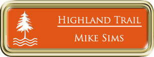 Framed Name Tag: Gold Plastic (rounded corners) - Tangerine and White Plastic Insert