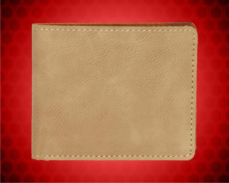 "4 1/2"" x 3 1/2"" Light Brown Leatherette Bifold Wallet"