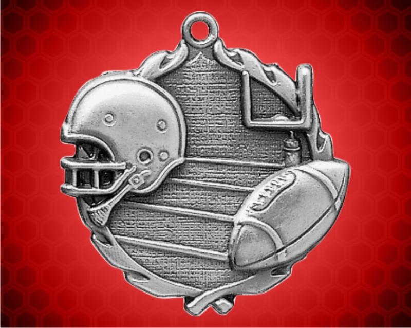 1 3/4 inch Silver Football Wreath Medal