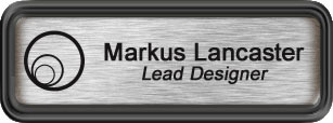 Framed Name Tag: Black Plastic (rounded corners) - Brushed Aluminum and Black Plastic Insert with Epoxy