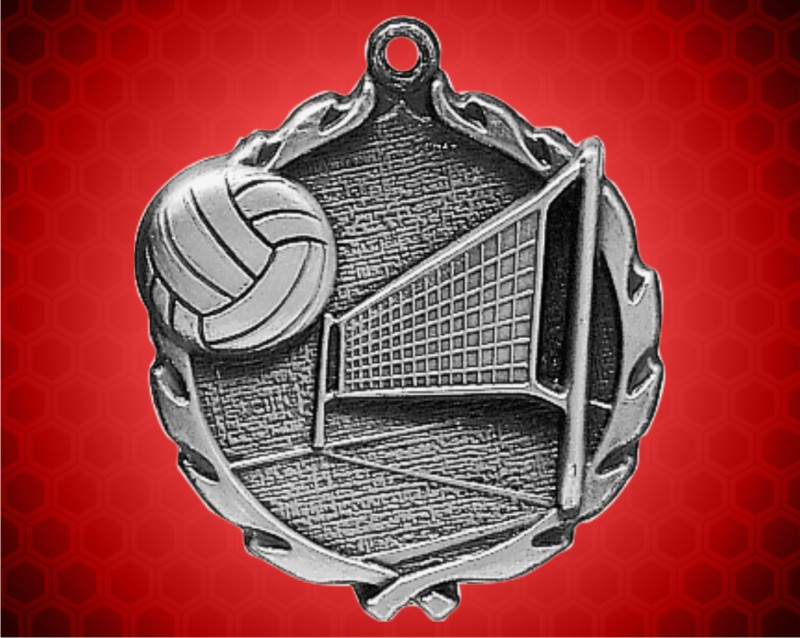 1 3/4 inch Silver Volleyball Wreath Medal