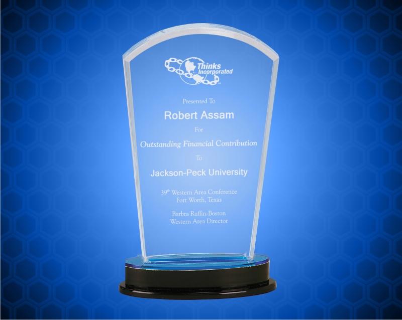 8 1/4 Inch Blue Arch Impress Acrylic Award