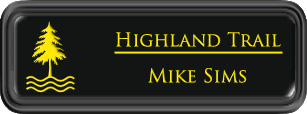 Framed Name Tag: Black Plastic (rounded corners) - Black and Yellow Plastic Insert