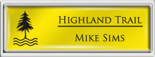 Framed Name Tag: Silver Plastic (squared corners) - Canary Yellow and Black Plastic Insert with Epoxy
