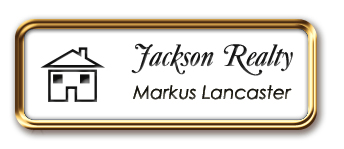 Rose Gold Metal Framed Nametag with White and Black