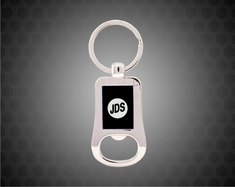 "2 1/8"" Silver/Black Laserable Bottle Opener Keychain"