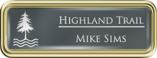 Framed Name Tag: Gold Plastic (rounded corners) - Smoke Grey and White Plastic Insert with Epoxy
