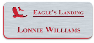 Smooth Plastic Name Tag: Brushed Stainless Steel/Red - MP922-316