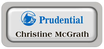 Metal Name Tag: White Metal Name Tag with a Pearl Grey Plastic Border and Epoxy