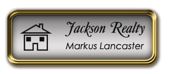 Framed Name Tag: Gold Metal (rounded corners) - Shiny Silver and Black Plastic Insert with Epoxy