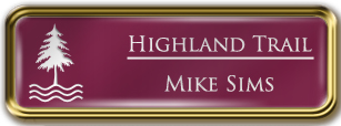 Framed Name Tag: Gold Metal (rounded corners) - Claret and White Plastic Insert with Epoxy