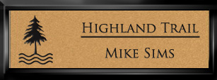 Framed Name Tag: Black Plastic (squared corners) - Smooth Gold and Black Plastic Insert