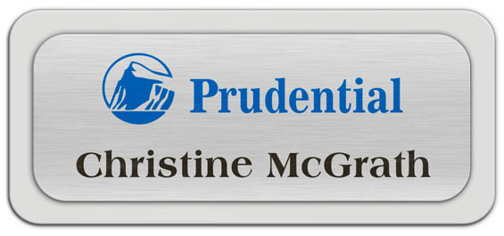 Metal Name Tag: Brushed Silver Metal Name Tag with a Light Grey Plastic Border