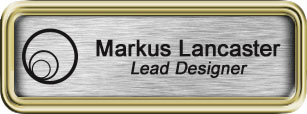 Framed Name Tag: Gold Plastic (rounded corners) - Brushed Aluminum and Black Plastic Insert with Epoxy
