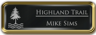 Framed Name Tag: Gold Metal (rounded corners) - Black and Silver Plastic Insert with Epoxy