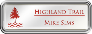 Framed Name Tag: Silver Plastic (rounded corners) - White and Crimson Plastic Insert with Epoxy