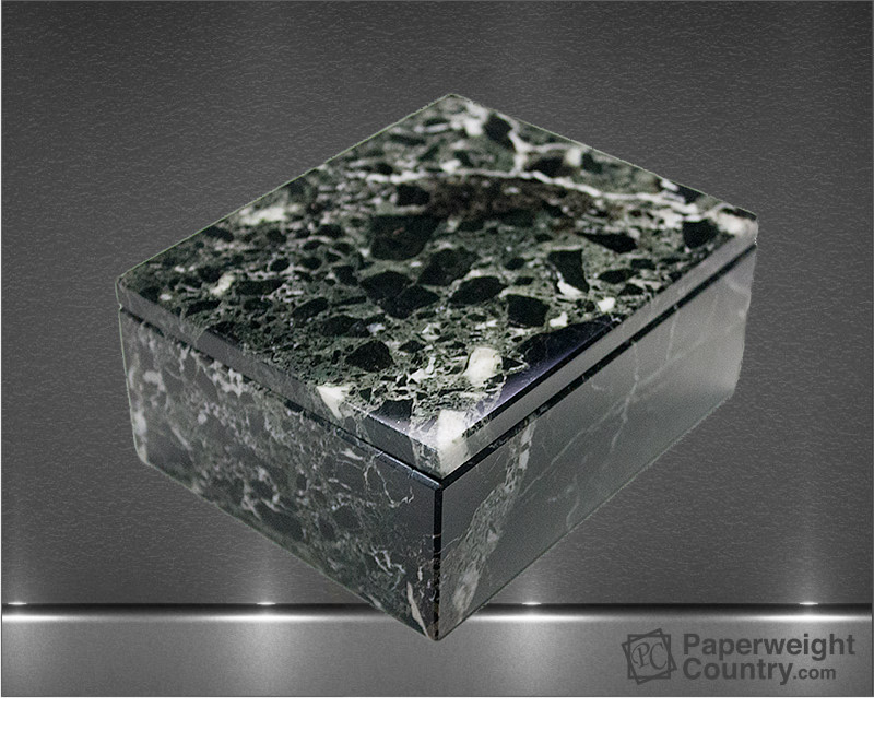 2 x 5 x 4 Inch Green Marble Rectangular Box with Lid