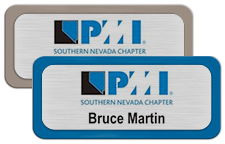 Brushed Silver Metal Name Tags with Plastic Borders