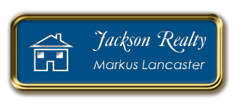 Gold Metal Framed Nametag with Sky Blue and White