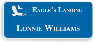 Smooth Plastic Name Tag: Sapphire Blue and White - LM922-502