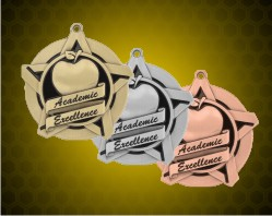 2 1/4 inch Academic Excellence Super Star Medals