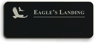 Blank Smooth Plastic Name Tag with Logo: Black and Silver - LM922-413