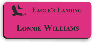 Smooth Plastic Name Tag: Ribbon Pink with Black - LM922-664