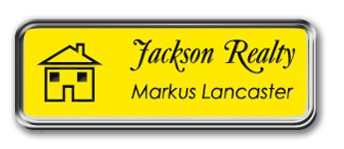 Silver Metal Framed Nametag with Canary Yellow and Black