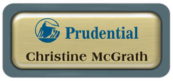 Metal Name Tag: Brushed Gold Metal Name Tag with a Forest Green Plastic Border and Epoxy