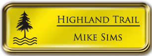 Framed Name Tag: Gold Metal (rounded corners) - Canary Yellow and Black Plastic Insert with Epoxy