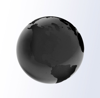3 Inch Black World Globe Optic Crystal Paperweight