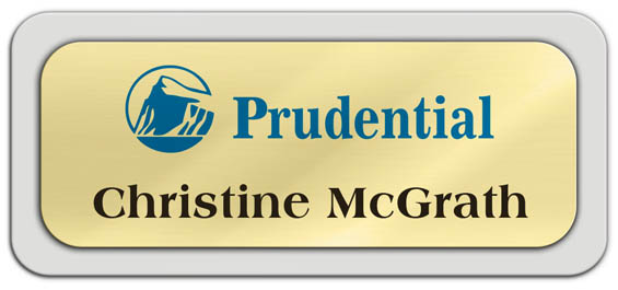 Metal Name Tag: Shiny Gold Metal Name Tag with a Light Grey Plastic Border