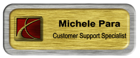 Metal Name Tag: Brushed Gold with Brushed Silver Metal Border
