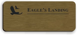 Blank Smooth Plastic Name Tag with Logo: Deep Bronze and Black - LM 922-884