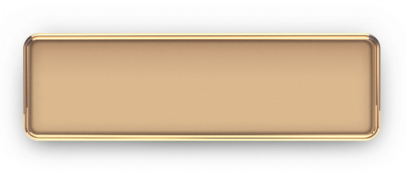 Rose Gold Metal Framed Epoxy Nametags with a Multi Colored Logo/Text