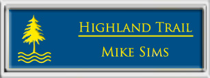 Framed Name Tag: Silver Plastic (squared corners) - Sky Blue and Yellow Plastic Insert