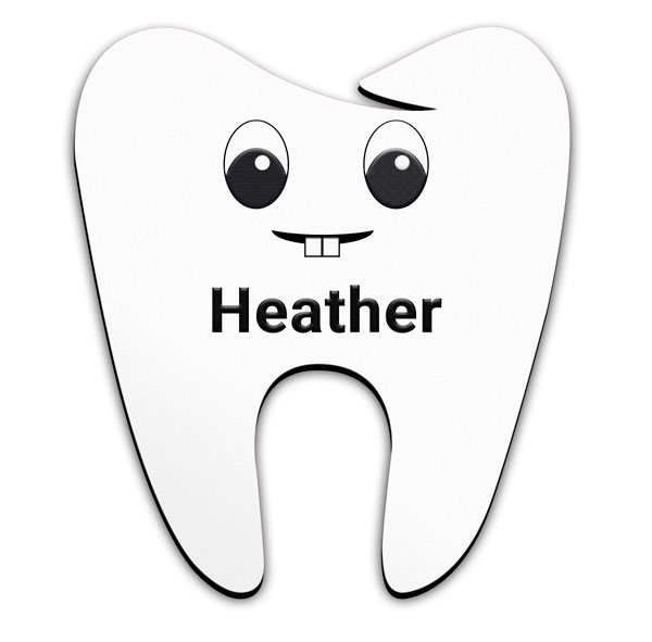 Smooth Plastic Tooth-Design3 Shape Name Tag - 1.83 x 1.6 inches