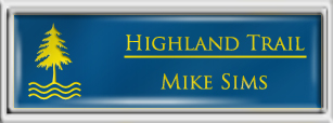 Framed Name Tag: Silver Plastic (squared corners) - Sky Blue and Yellow Plastic Insert with Epoxy