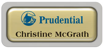 Metal Name Tag: Shiny Gold Metal Name Tag with a Pearl Grey Plastic Border and Epoxy