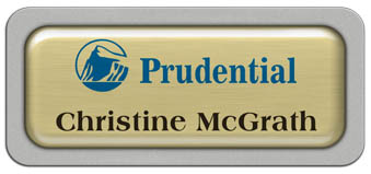 Metal Name Tag: Brushed Gold Metal Name Tag with a Silver Plastic Border and Epoxy